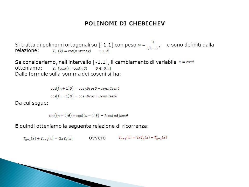 POLINOMI DI CHEBICHEV Si tratta di polinomi ortogonali su [-1,1] con peso e sono definiti dalla.